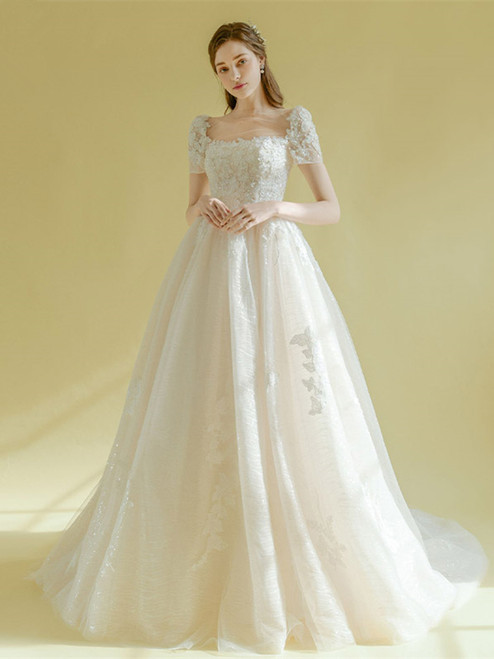 Shop 2020 Short Sleeves Tulle Square Neck A Line Lace Up Wedding Dress Under 300