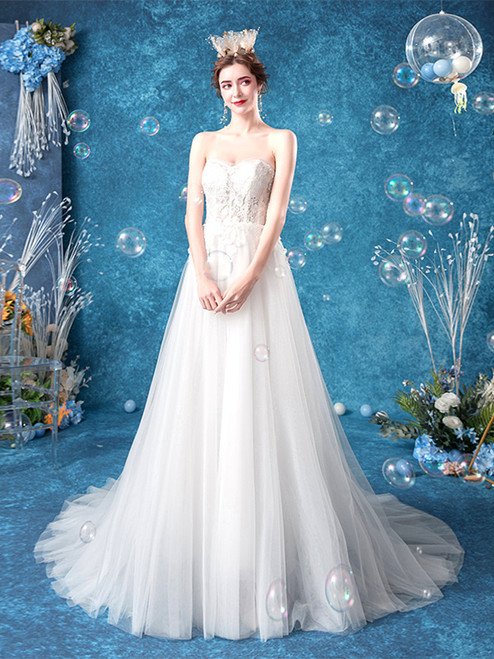 Buy In Stock:Ship in 48 hours Sweetheart See Through Appliques Tulle Long Wedding Dress Under 130