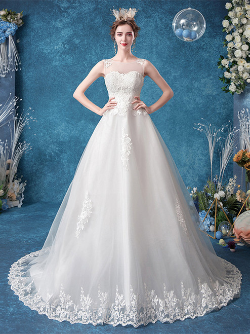 Buy In Stock:Ship in 48 hours Sheer Back Appliques Sweep Train Scoop Tulle Wedding Dress 2020