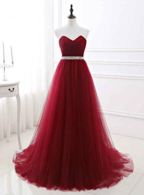 A-Line Beading Belt Long Charming Prom Dresses Floor-Length Evening Dresses