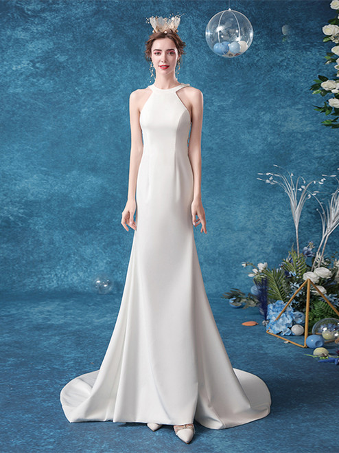 Buy 2020 In Stock:Ship in 48 hours Halter Satin Sheath Column Sweep Train Wedding Dress