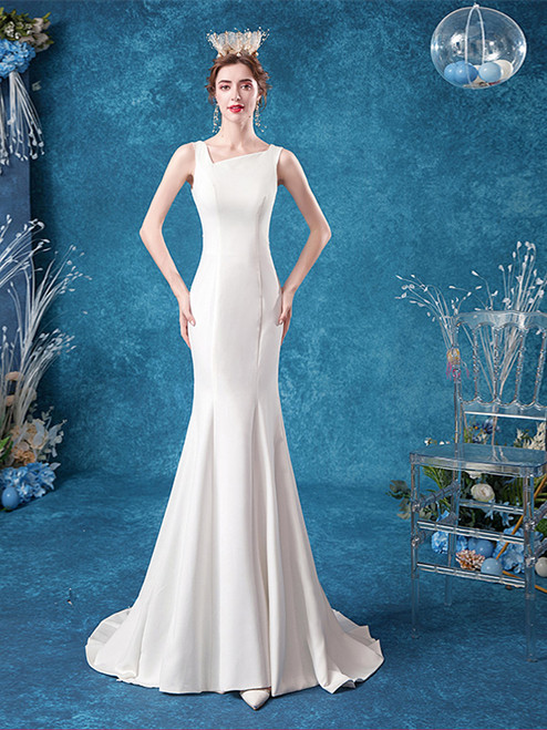 Buy 2020 In Stock:Ship in 48 hours Satin Trumpet Mermaid Square Neck Sweep Train Wedding Dress