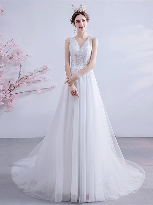 Buy 2020 In Stock:Ship in 48 hours Cutout Back Tulle Appliques V Neck Wedding Dress