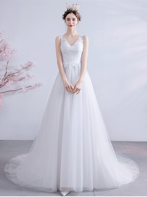 Buy 2020 In Stock:Ship in 48 hours V Neck Tulle Sheer Back Wedding Dress Under 100