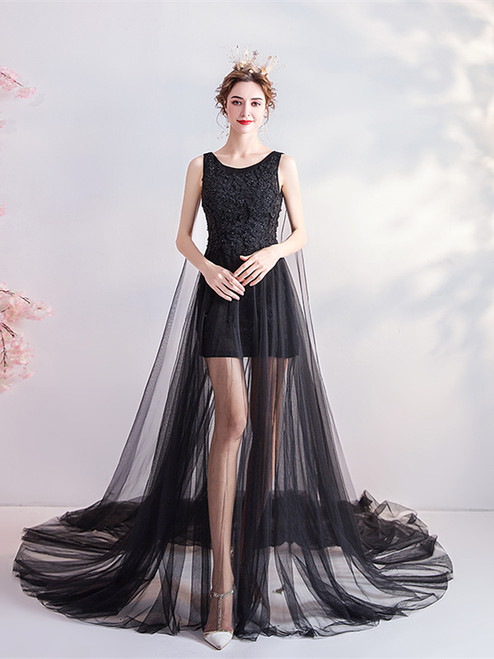 Buy 2020 In Stock:Ship in 48 hours Black High Low Tulle Beading Prom Dress