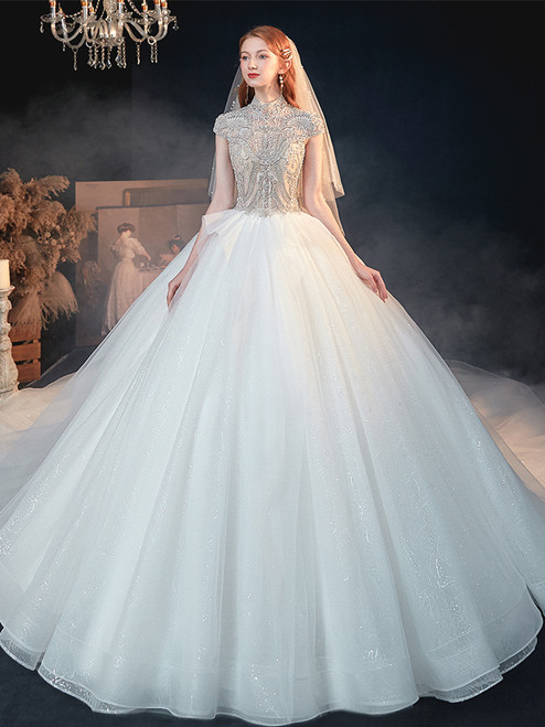 Shop 2020 New Design High Neck Beading Short Sleeves Ball Gown Tulle Wedding Dress Under 500