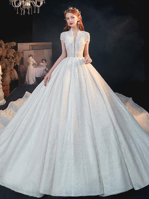 Shop China Beading High Neck Cap Sleeveless Beading Ball Gown Wedding Dress Under 400