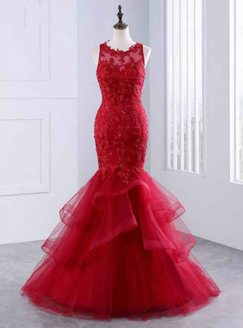 Evening Dresses Red Prom Dresses Lace Prom Dress Mermaid Prom Dresses