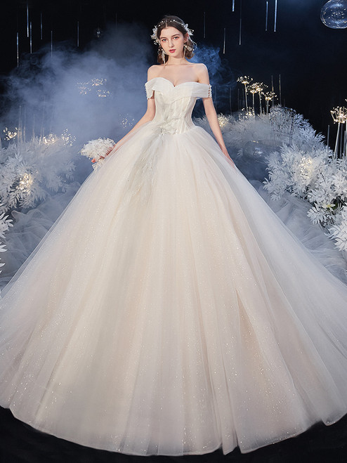 Shop 2020 Off The Shoulder Appliques Tulle White Pleats Wedding Dress From Kemedress