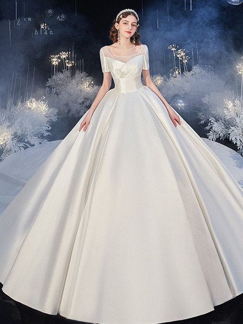 Shop 2020 Scoop Satin Short Sleeves Sweep Train Wedding Dress With Pockets Under 400