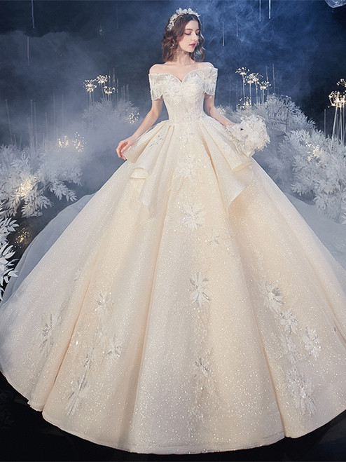Champagne 2020 Off The Shoulder Tulle Appliques Beading Ruffles Wedding Dress Under 500