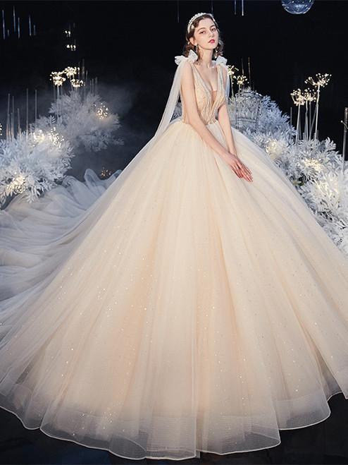 Shop 2020 Champagne V Neck Beading Tulle Sweep Train Wedding Dress Under 500