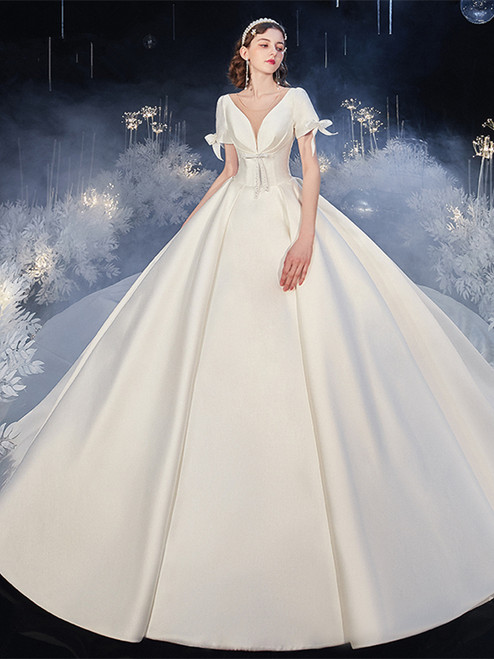 Shop 2020 Short Sleeves V Neck Satin Sweep Train Beading Wedding Dress Under 300