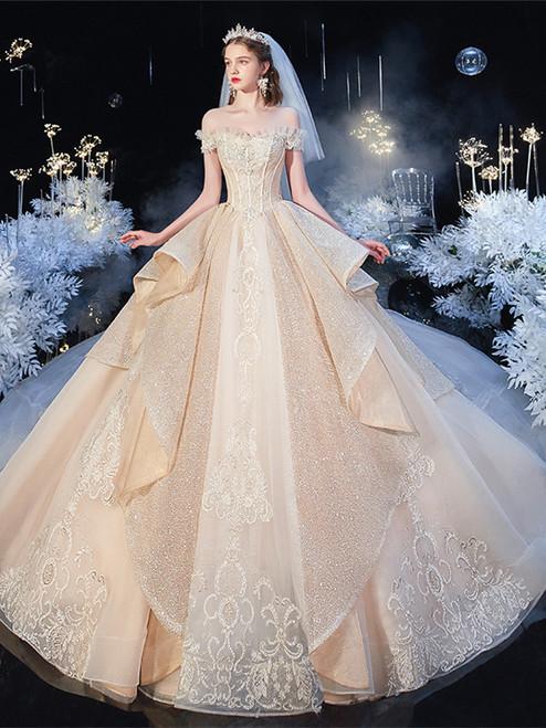 Shop 2020 Champagne Sparkle Bling Bling Beading Tulle Off The Shoulder Wedding Dress Under 500