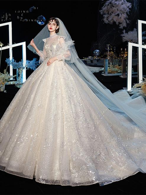 Vintage Style High Neck Long Sleeves Beading Bling Bling Wedding Dress Under 500