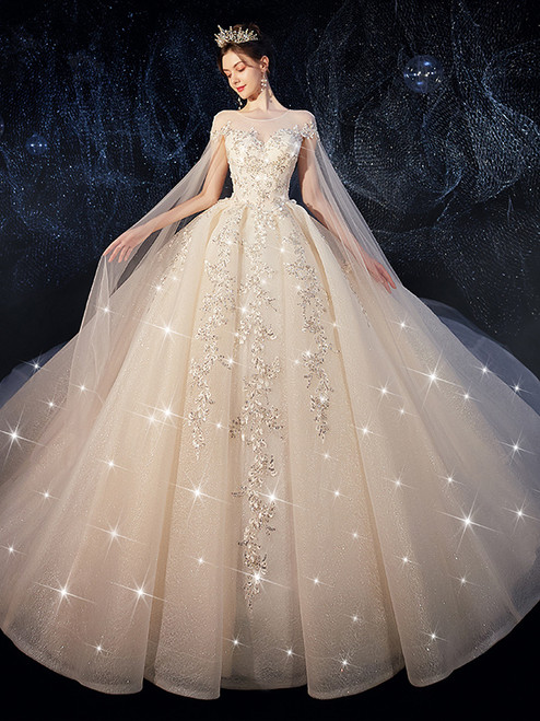 Shop 2020 Cap Sleeves Scoop Beading Tulle Long Train Wedding Dress Under 500