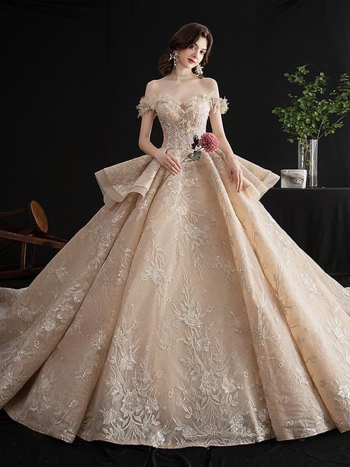 Shop 2020 Off The Shoulder Champagne Appliques Long Train Beading Wedding Dress Under 500