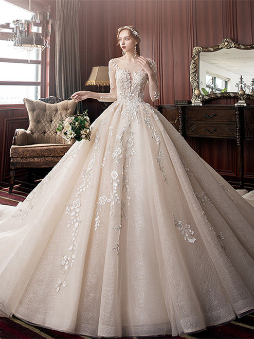 Shop Unique 2020 Long Sleeves Appliques Backless Long Train Tulle Wedding Dress Under 500
