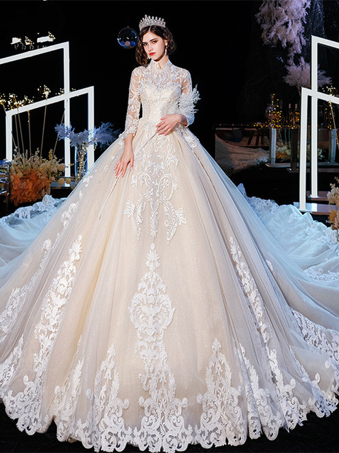 Shop 2020 Winter High Neck Long Sleeves Appliques Tulle Long Train Weddign Dress Under 500