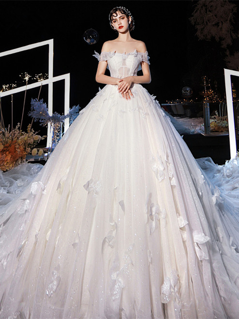 Shop Beautiful Off The Shoulder Long Train 3D Flowers Tulle Wedding Dress From Kemedress