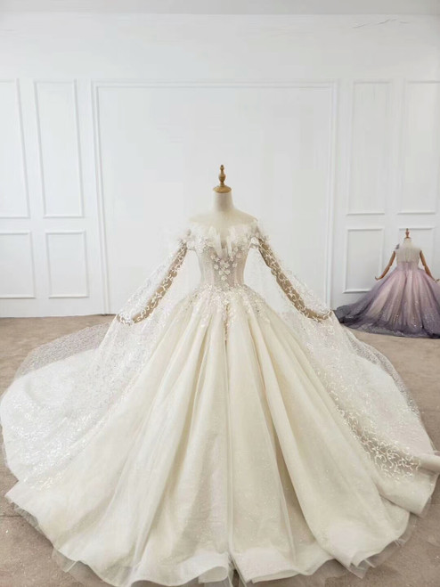 Buy High Quality Bling Bling Off The Shoulder Long Sleeves Sequin Tulle Huate Couture Wedding Dress For 2020