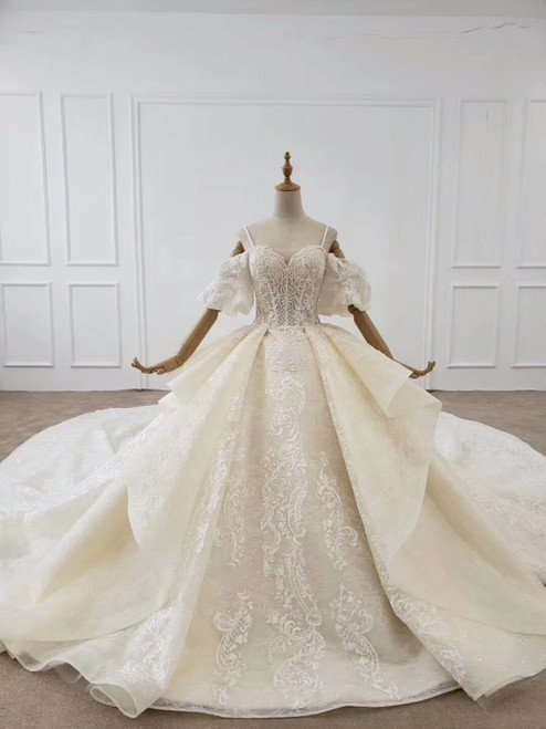 Unique Puffy Sleeves Off The Shoulder Sparkle Appliques Huate Couture Ball Gown Wedding Dress