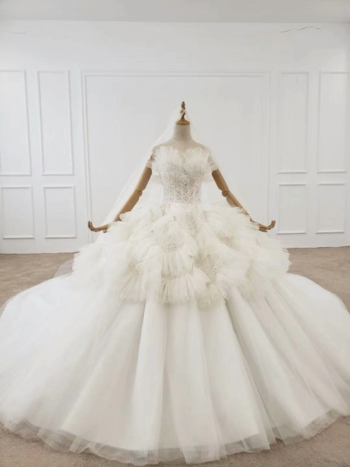 Shop 2020 White Sweetheart Ruched Tulle Ball Gown Beading Huate Couture Wedding Dress