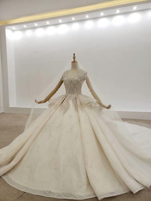 Buy Kemedress 2020 Cap Sleeves Luxury Crystal Bling Bling V Neck Tulle Huate Couture Wedding Dress