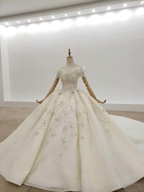 Shop 2020 Designer Off The Shoulder Short Sleeves Tulle Crystal Huate Couture Wedding Dress