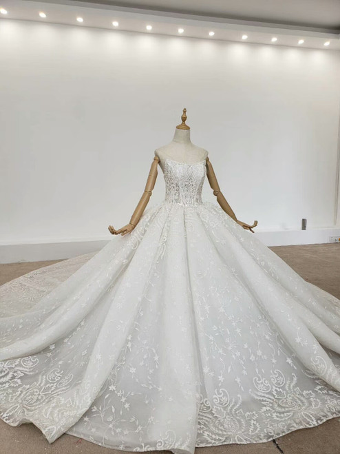 Shop 2020 Two Piece Half Sleeves Beading Ball Gown Crystal Huate Couture Wedding Dress