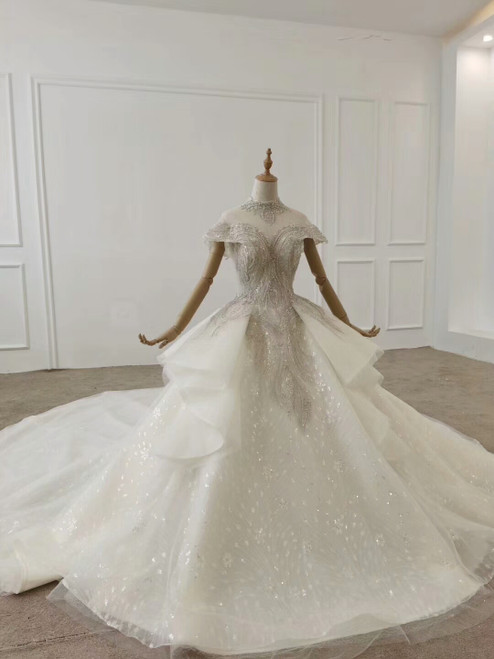 Buy Beautiful High Neck Cap Sleeves Crystal Ball Gown Ruffles Tulle Haute Couture Wedding Dress