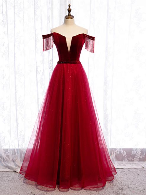Tassel Sleeves Off The Shoulder Tulle Burgundy Floor Length Lace Up Prom Dress
