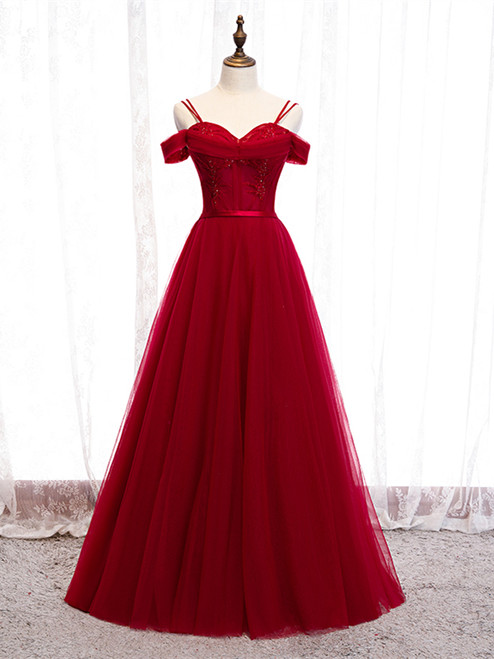 Shop 2020 Beautiful Off The Shoulder Tulle Burgundy Beading Prom Dress Under 130