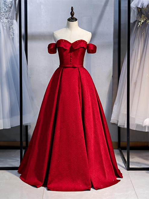 Shop Cheap 2020 Off The Shoulder Satin Floor Length Dark Red Bow Prom Dress Under 128