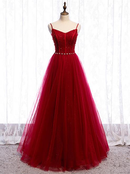 Shop 2020 Spaghetti Straps Tulle Beading Floor Length Burgundy Prom Dress Under 130