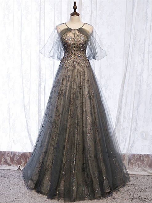 Be Crowned Prom Queen In Short Sleeves Halter Gray Tulle Sparkle Sequin Backless Prom Dress