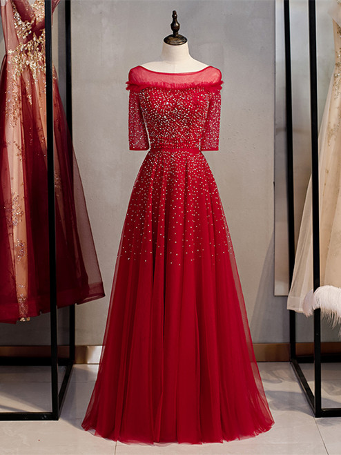 Shop Beautiful Scoop Beading Half Sleeves Red Sheer Tulle Sequin Prom Dress Under 148