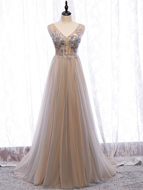 Shop Beautiful Champagne V Neck Tulle Beading Floor Length Backless Prom Dress Under 130