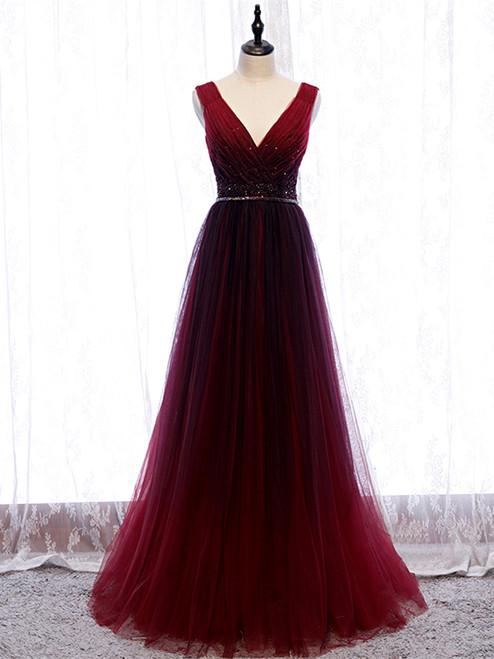 Buy Cheap Pleats Beading Burgundy V Neck Long A Line Tulle Prom Dress Under 120
