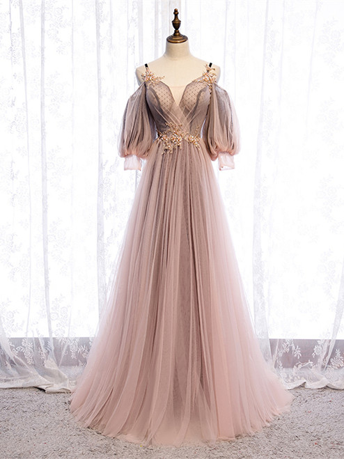 Shop 2020 Half Sleeve Dusty Pink Straps See Through Appliques Prom Dress Under 135