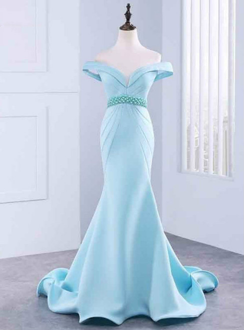 Sexy Mermaid Long Prom Dress With Beading Luxury Evening Dress Satin Prom Dresses