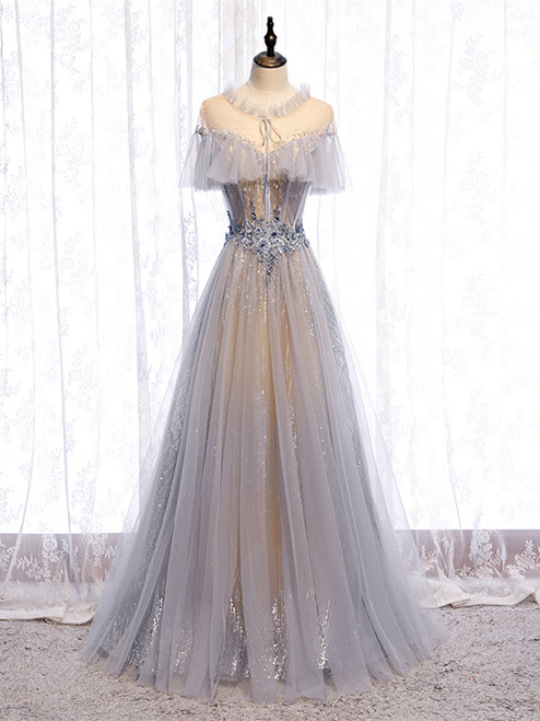 Shop Kemedress See Through Gray Tulle Sparkle Appliques A Line Prom Dress Under 138