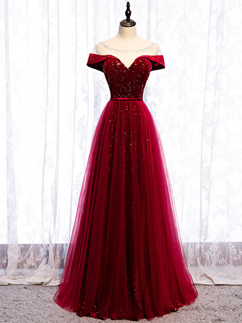 Shop 2020 Scoop Cap Sleeves See Through Sequin Tulle Burgundy Prom Dress Under 119