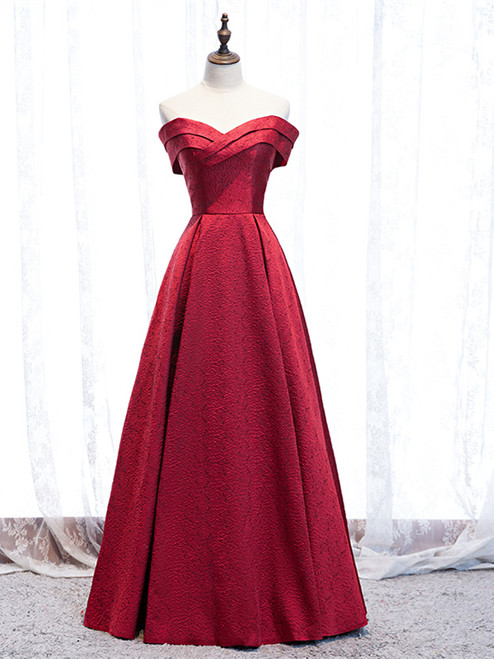Buy Cheap 2020 Sweetheart Burgundy Satin Lace Up Long Prom Dress Under 119