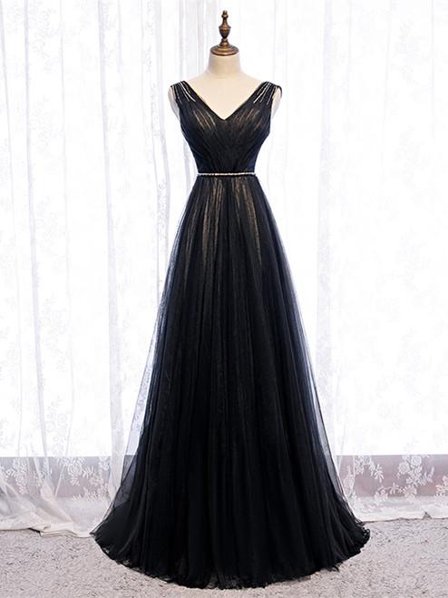 Buy Cheap 2020 Black V Neck Tulle Pleats Beading Long Prom Dress Under 119