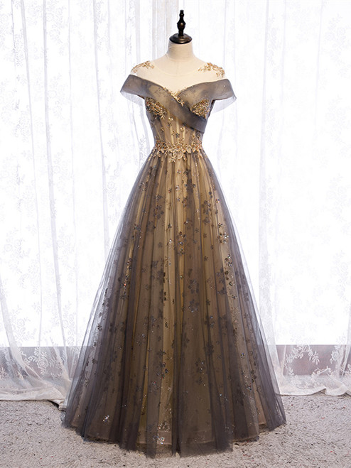 Shop 2020 Gray Illusion Cap Sleeves Sequin Lace Up Tulle Prom Dress Under 138
