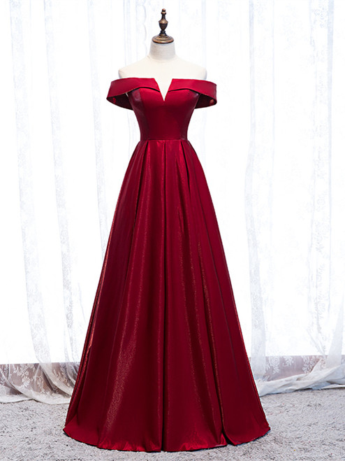 Buy Cheap 2020 Off The Shoulder Burgundy Satin Cut Out Prom Dress Under 119