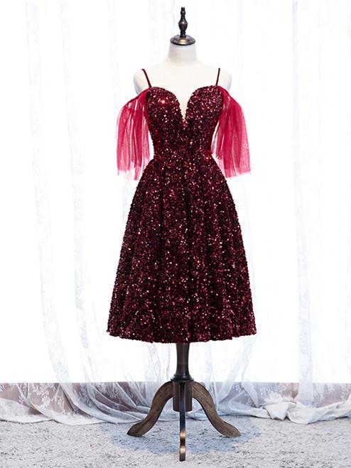 Shop 2020 Sparkle Sequin Burgundy Tea Length Spaghetti Straps Prom Dress Under 119