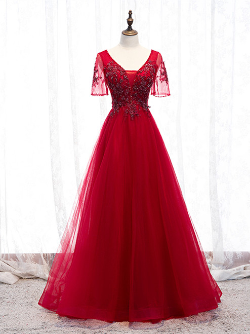 Shop 2020 Red Short Sleeves Tulle V Neck Appliques Beading Prom Dress Under 129