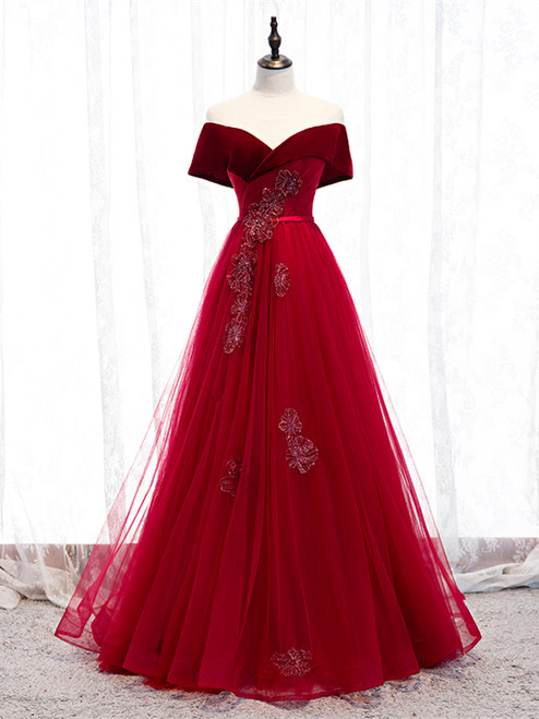 Shop 2020 Off The Shoulder Burgundy Tulle Velvet Appliques Long Prom Dress  Under 129